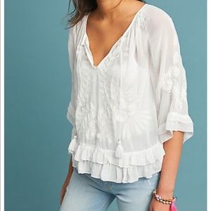Anthropologie boho embroidered tassel blouse